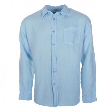 Chemise en lin bleu : grande taille jusqu'au 4XL
