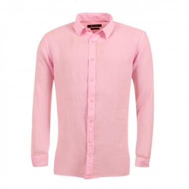 Chemise en lin rose : grande taille du 44 (XL) au 54 (6XL)