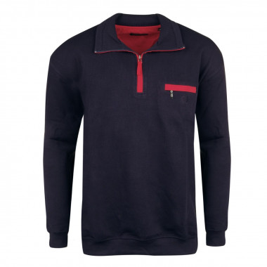 Sweat-shirt zip bleu marine : grande taille du 2XL au 7XL
