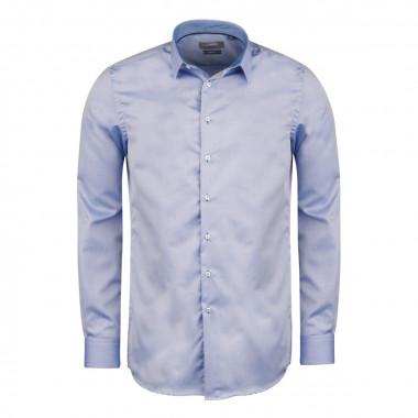 Chemise dobby bleu cintrée: manches extra-longues 72cm