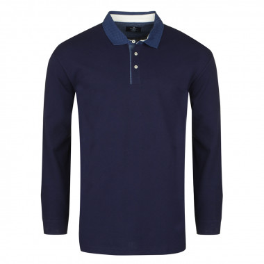 Polo manches longues jersey bleu marine: grande taille du 60 au 66