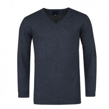 Pull en laine col V bleu: grande taille du 2XL au 6XL