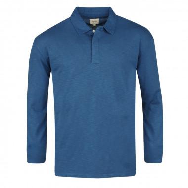 Polo manches longues bleu: grande taille du 3XL au 6XL