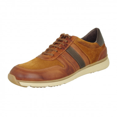 Sneakers bi-matière cognac: grande taille du 46 au 49
