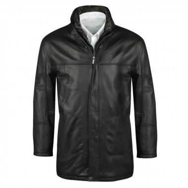 Parka en cuir noir: grande taille du 3XL au 8XL