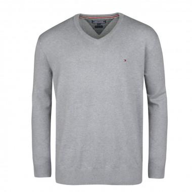 Pull col V coton cachemire gris clair: grande taille du 2XL au 5XL