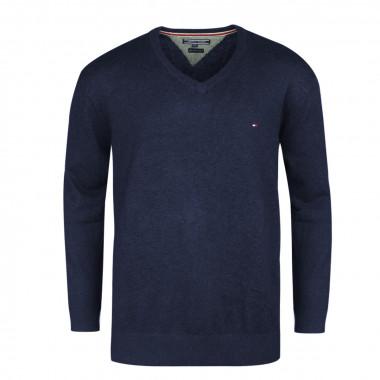 Pull col V coton cachemire  bleu marine: grande taille du 2XL au 5XL