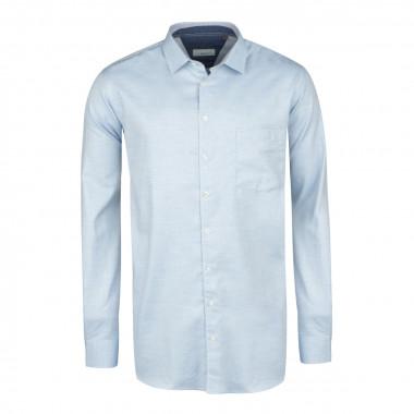 Chemise casual dobby bleu cintrée: manches extra-longues 72cm