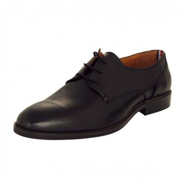 Derbie en cuir noir: grande taille du 46 au 48