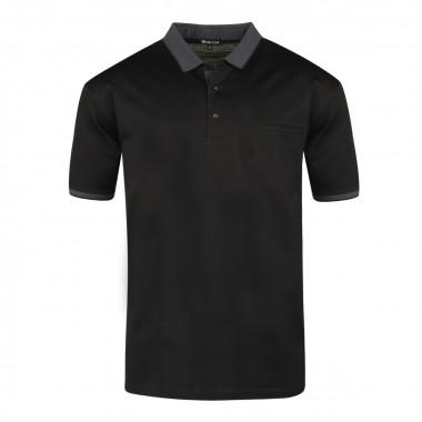 Polo jersey mercerisé noir: grande taille du 2XL au 6XL