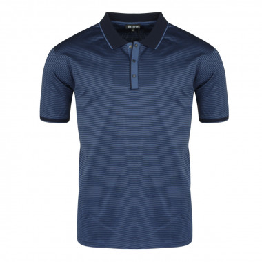 Polo jersey mercerisé rayé indigo: grande taille du 2XL au 6XL