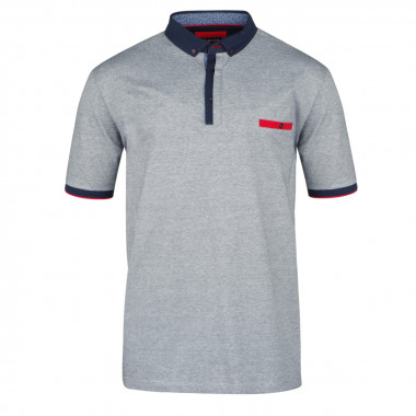 Polo jersey col chemise indigo: grande taille du 2XL au 6XL