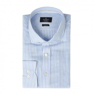 Chemise à rayures en lin bleu: grande taille du 0XL au 4XL