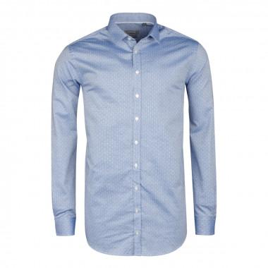 Chemise fantaisie bleu indigo cintrée: manches extra-longues 72cm
