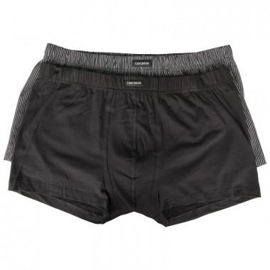Pack de 2 boxers uni et à rayures noir : grande taille du 2XL au 7XL