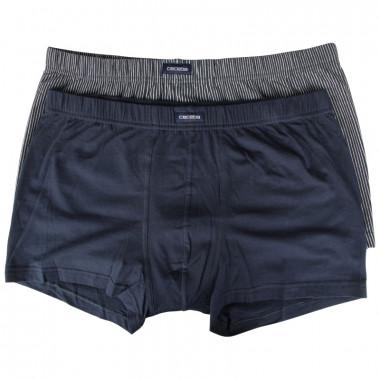 Pack de 2 boxers uni et à rayures bleu : grande taille du 2XL au 7XL