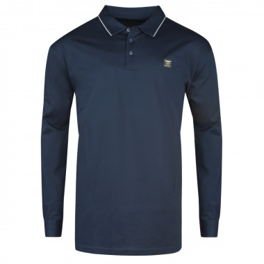 Polo manches longues en jersey Aston bleu marine: grande taille du 0XL au 4XL