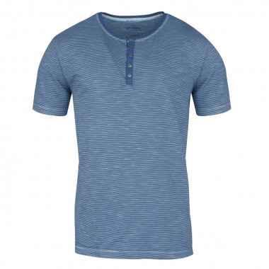 Tee-Shirt col tunisien rayé indigo : grande taille du 2XL au 8XL