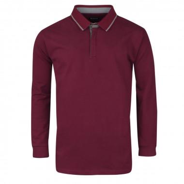 Polo manches longues jersey bordeaux: grande taille du 2XL au 5XL