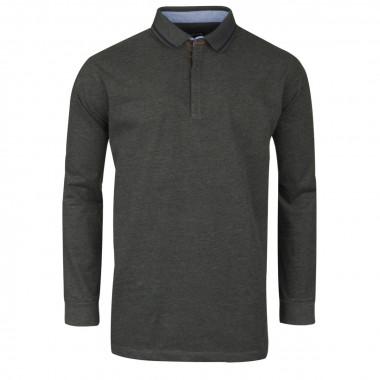 Polo manches longues jersey anthracite: grande taille du 2XL au 5XL