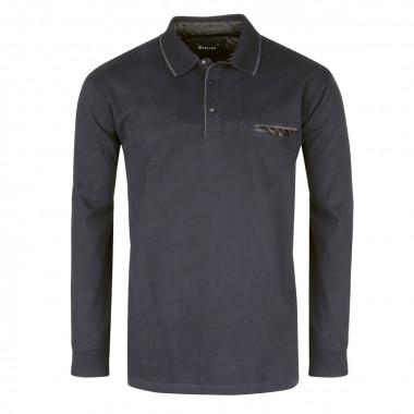 Polo manches longues jersey noir: grande taille du 2XL au 6XL