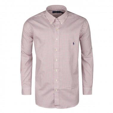 Chemise à petits carreaux bordeaux: grande taille du XL au 5XL
