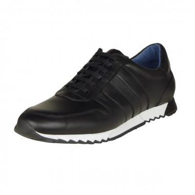 Sneaker en cuir noir: grande taille du 46 au 49