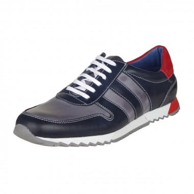 Sneaker en cuir bicolore bleu marine: grande taille du 46 au 49
