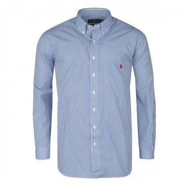 Chemise à rayures bâton bleu: grande taille du XL au 5XL