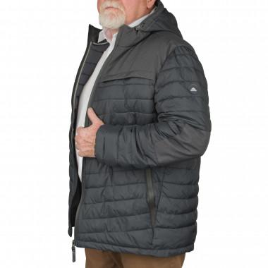 Doudoune avec capuche anthracite: grande taille du 3XL au 6XL