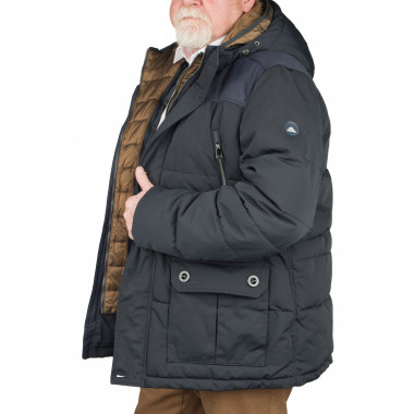 Doudoune longue marine: grande taille du 3XL au 8XL