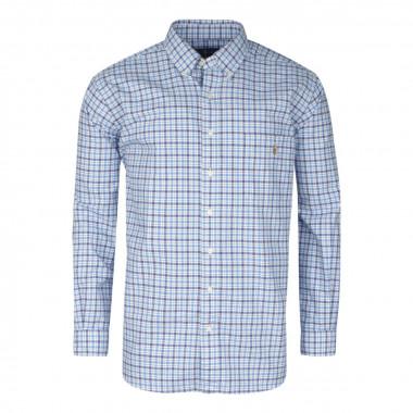 Chemise à petits carreaux bleu: grande taille du XL au 5XL