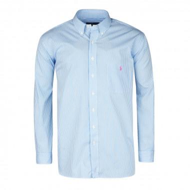 Chemise rayures bâton bleu ciel: grande taille du XL au 3XL