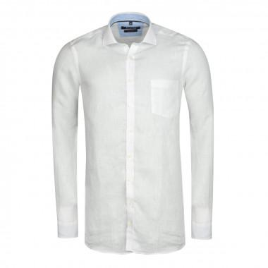 Chemise en lin blanc cintrée: manches extra-longues 72cm