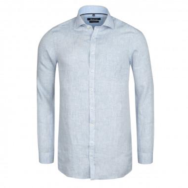 Chemise en lin bleu ciel cintrée: manches extra-longues 72cm