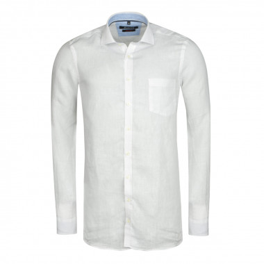Chemise en lin blanc: grande taille du 44 (XL) au 50 (4XL)
