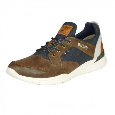 Sneaker bimatière marron: grande taille du 47 au 50