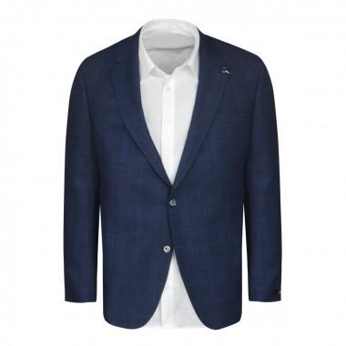 Veste à carreaux bleu marine: grande taille du 60 au 68